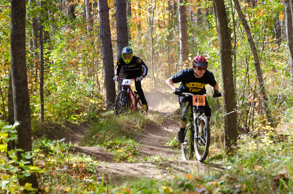 Dual slalom MTB racers at the Michigan Tech Trails