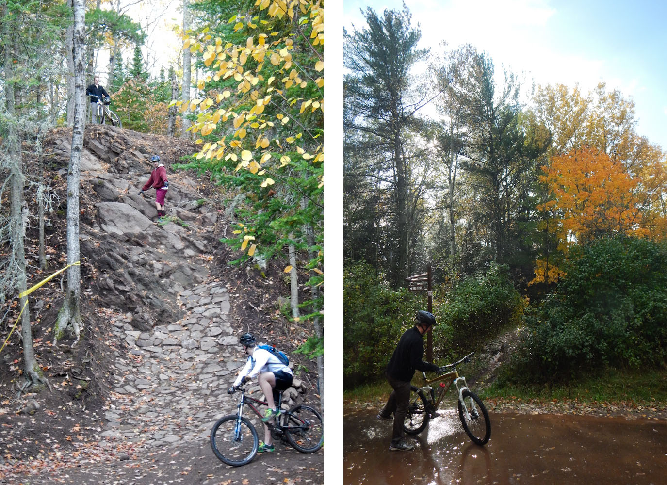 """The insane rock face dubbed """"Man pants"""" on the new Overflow downhill MTB trail at Copper Harbor"""