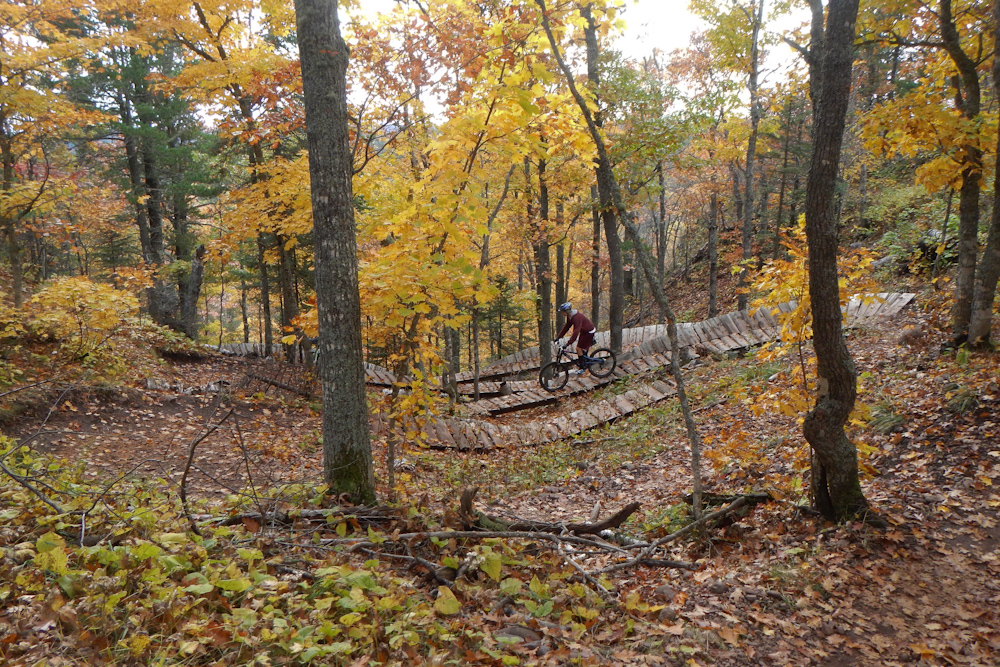 The serpentine bridges of The Edge MTB trail in Copper Harbor