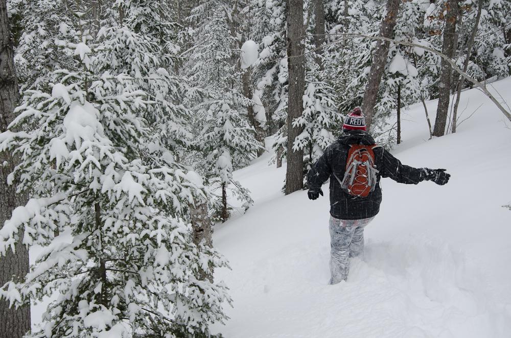 Snowshoeing through deep powder