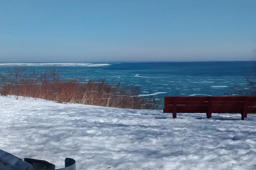 Frozen edge of Lake Michigan from Sheboygan, WI