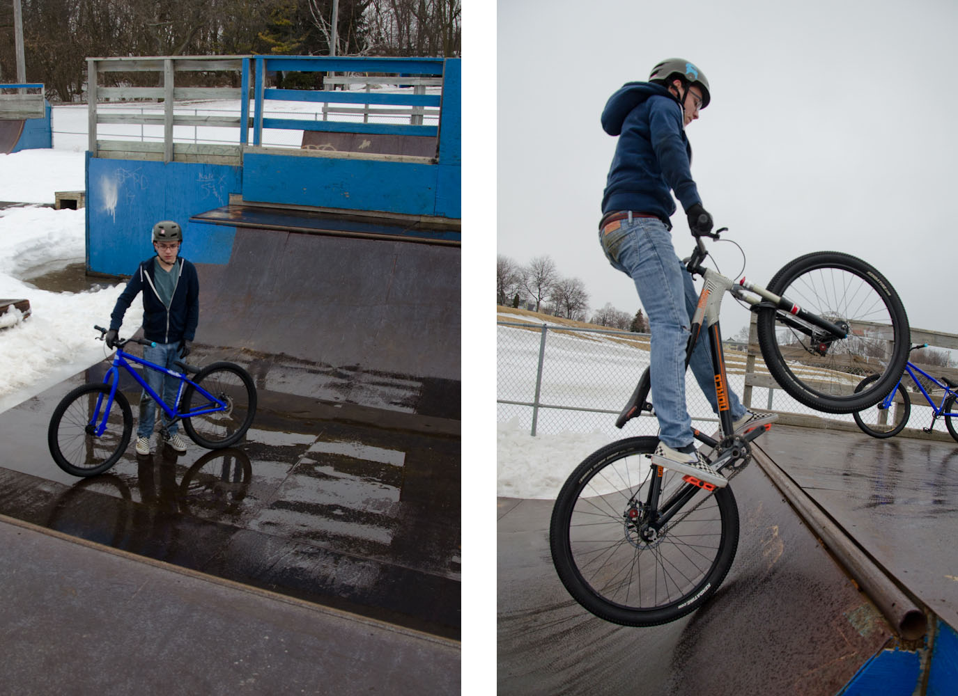 Anthony riding his bike in a wet metal half-pipe