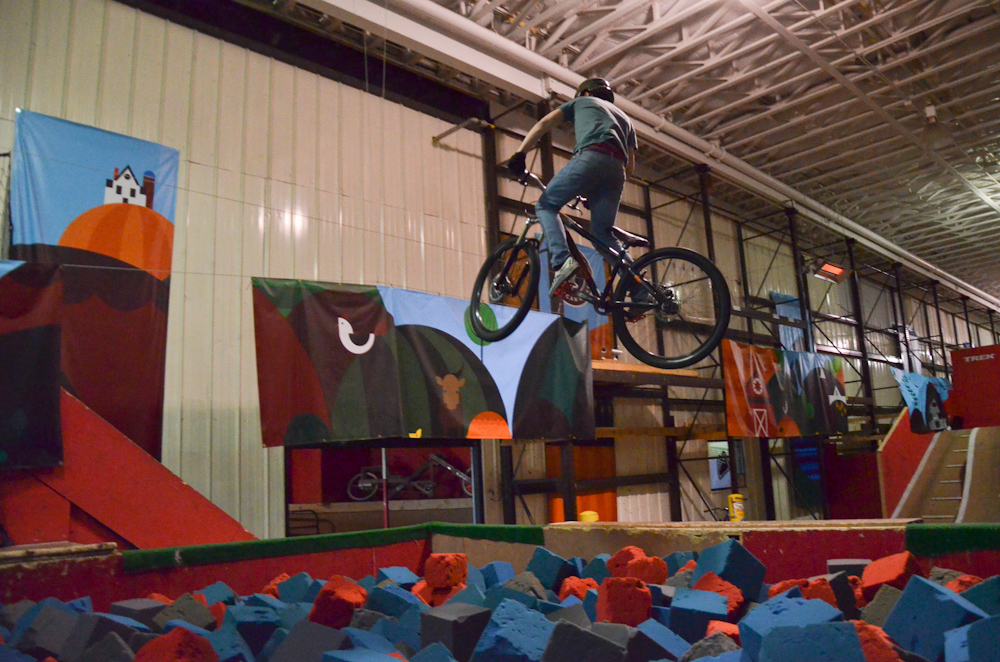 Anthony practicing a 360 into the foam pit