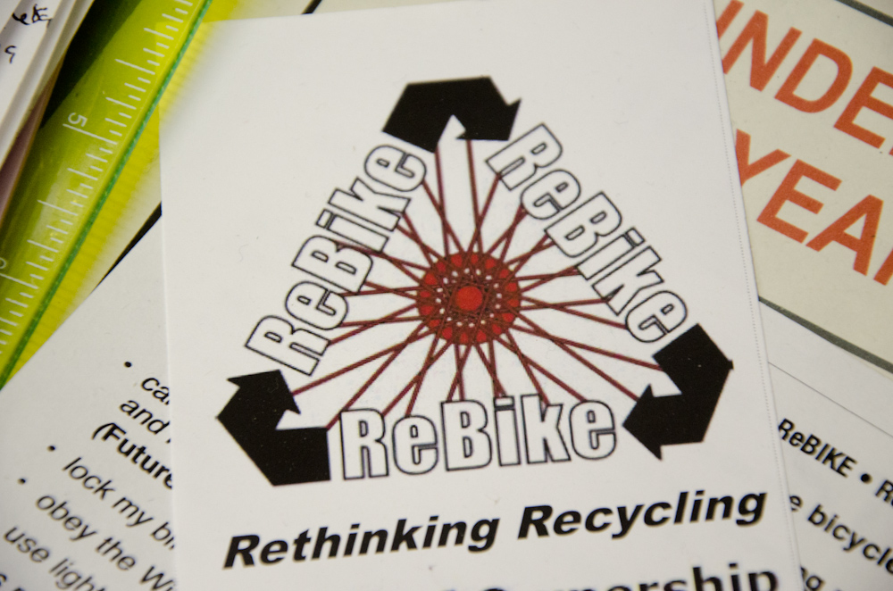 The ReBike logo on a flyer