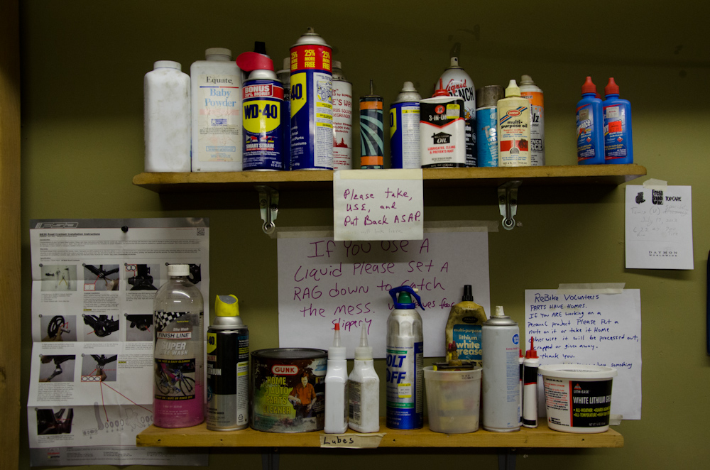 The shelf of lubricants and other chemicals