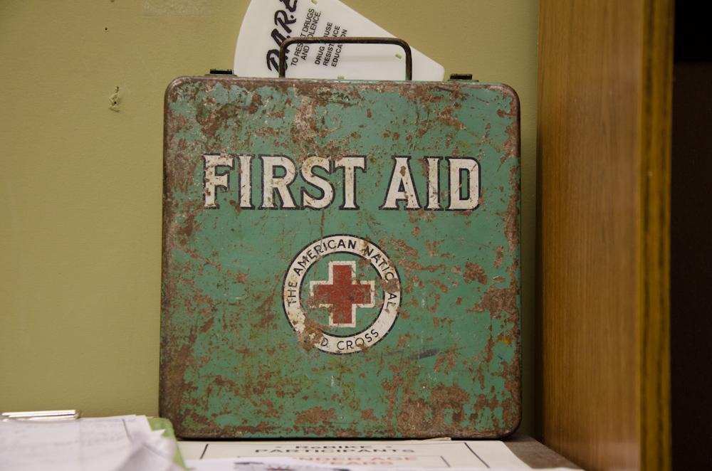 An antique firs aid kid box