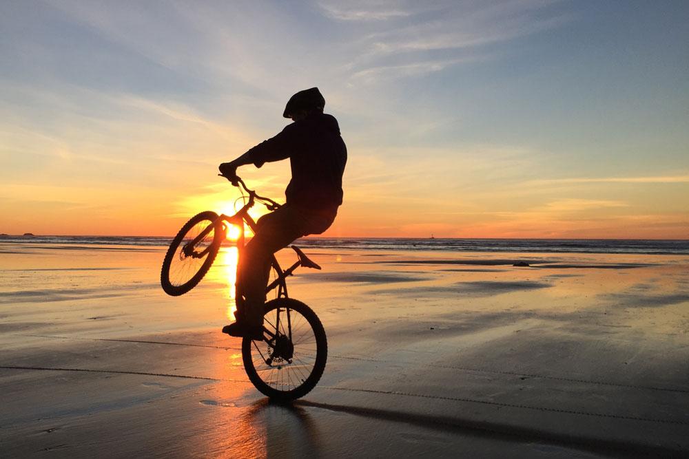 Wheelie on the beach
